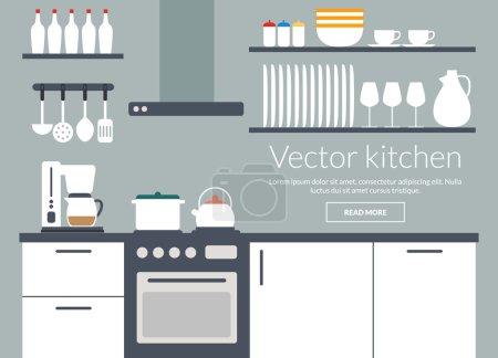 Kitchen interior vector illustriation card with ic...