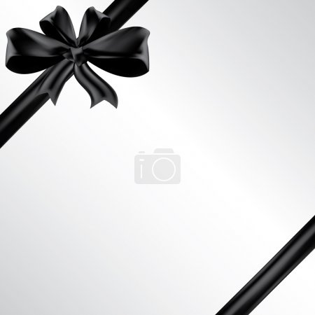 Vector funeral card with black ribbon, place for t...