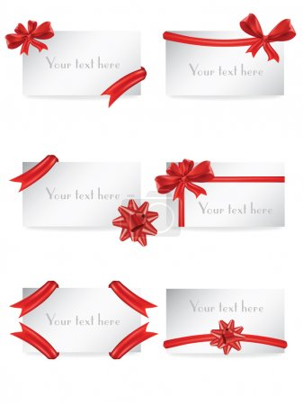Illustration for Vector set of gift card notes with red bows and ribbons - Royalty Free Image