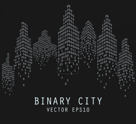Binary code in form of futuristic city, vector