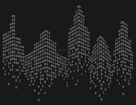 Illustration for Binary code in form of futuristic city skyline, vector illustration - Royalty Free Image