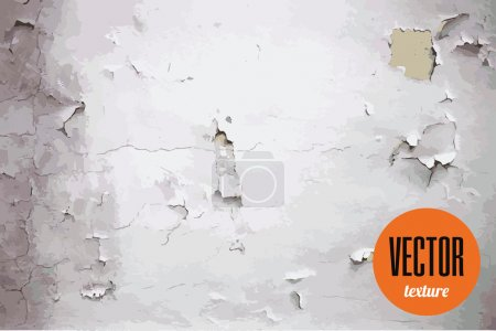 Illustration for Vector texture old cracked wall with peeling paint - Royalty Free Image