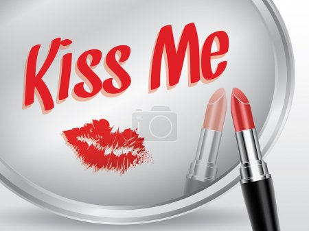 Kiss me written on mirror by lipstick, vector