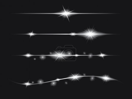 Illustration for Set of Vector glowing light effect stars bursts with sparkles - Royalty Free Image