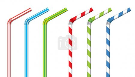 Colorful drinking straws, vector set