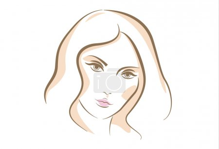 Illustration for Sketch portrait of woman face, drawn in vector lines - Royalty Free Image