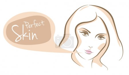 Illustration for Perfect skin woman face, vector line sketch - Royalty Free Image