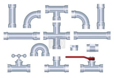 Illustration pour Ensemble de pièces de construction de pipeline PVC vectoriel - image libre de droit