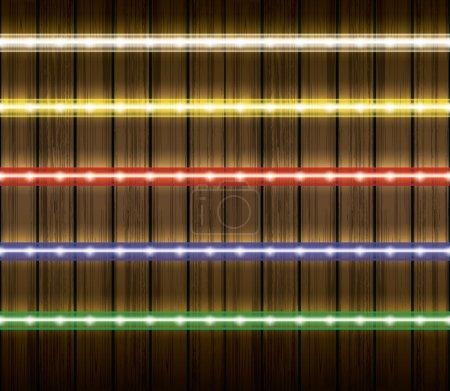 Colorful led light stripes vector illustration set