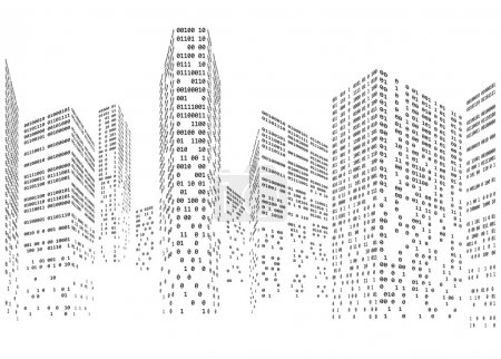 Illustration for Binary code in form of futuristic city skyline vector illustration - Royalty Free Image