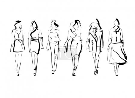 Illustration pour Ensemble de modèles de mode esquisse isolé, illustration vectorielle - image libre de droit