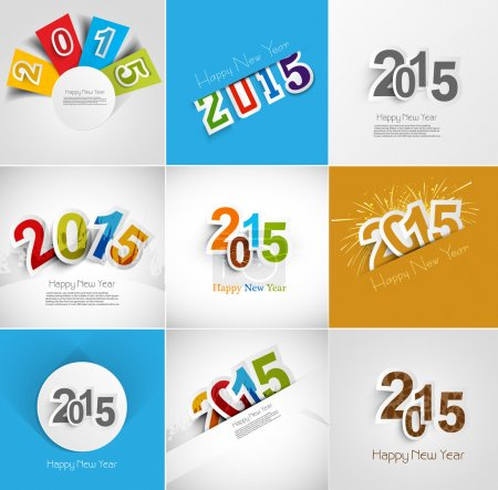 Holiday collection for Happy New Year 2015 beautiful greeting ca