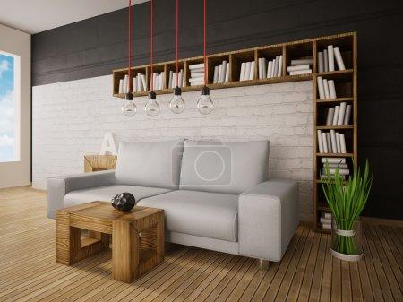 Foto de Moderno espacio interior 3d de ilustración con una hermosos muebles - Imagen libre de derechos