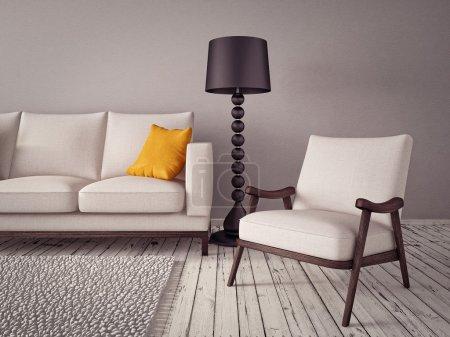 Photo pour Chambre intérieure moderne avec un beau mobilier - image libre de droit