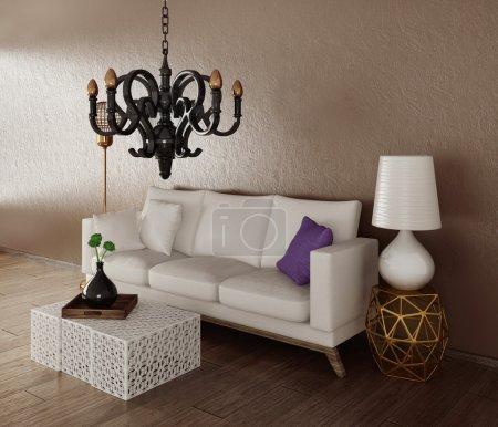Photo pour 3d rendu. chambre intérieure moderne avec un mobilier magnifique . - image libre de droit
