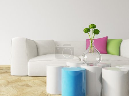 Photo for 3d render. Modern room interior with a beautiful furniture. - Royalty Free Image