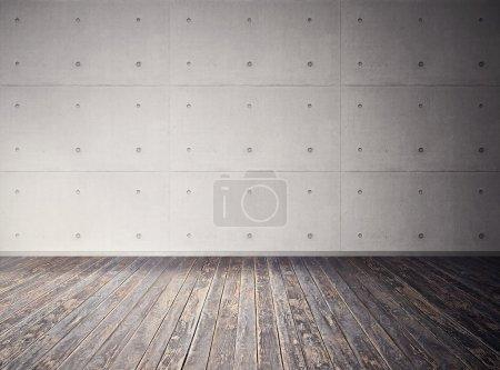 Photo pour Pièce vide en béton avec vieux plancher en bois - image libre de droit