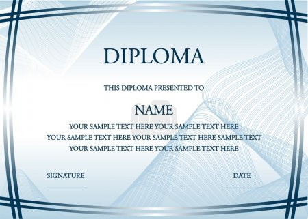 Illustration for Vector illustration of blue diploma certificate - Royalty Free Image