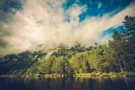 Photo for Scenic Mountain River Place in Norway, Europe. Norwegian Landscape Scenery. - Royalty Free Image