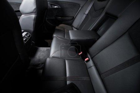 Photo for Luxury Rear Car Seats. Black Leather Car Interior Rear Seats. Studio Photo. - Royalty Free Image