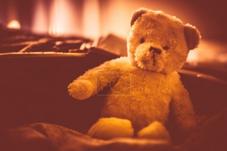Photo for Plushy Teddy Bear in the Room. Plush Bear Toy. Warm Vintage Color Grading. - Royalty Free Image