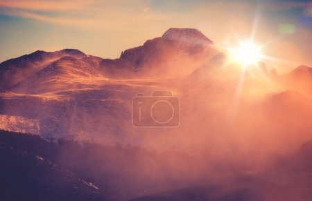 Photo for Sunny Winter Mountain Landscape with Blowing Snow. Colorado Rocky Mountains, Colorado, United States. - Royalty Free Image
