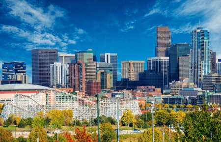 Photo for Sunny Day in Denver Colorado, United States. Downtown Denver City Skyline and the Blue Sky. - Royalty Free Image