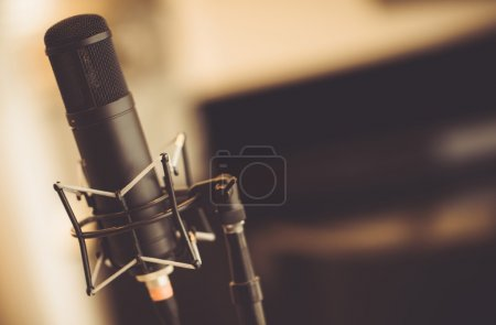 Photo for Professional Tube Microphone in the Recording Studio. Microphone Closeup. - Royalty Free Image