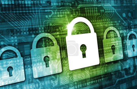 Photo pour Online Data Security Concept Illustration with Padlock Icons, Cyber Background and Circuit Board Elements. Internet Security Technologies. - image libre de droit