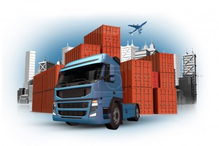 Photo for Cargo and Custom Concept with International Containers Shipment, Truck and Cargo Airplane on the Sky. 3D Cargo Concept Illustration. - Royalty Free Image