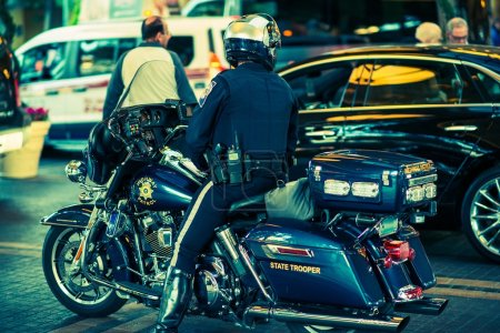 Photo for State Trooper on Motorcycle. Policeman on Bike. - Royalty Free Image