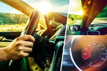 Photo pour Collage concept de voiture et de conducteur. Sunny Road Car Trip. Thème des transports modernes . - image libre de droit