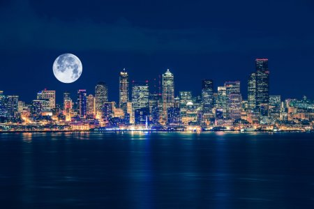 Photo for Seattle and the Moon Night Skyline. Seattle, Washington, United States. - Royalty Free Image