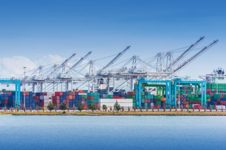 Photo for Cargo Seaport with Heavy Duty Lifts and Cargo Containers. Sea Transportation Theme. - Royalty Free Image