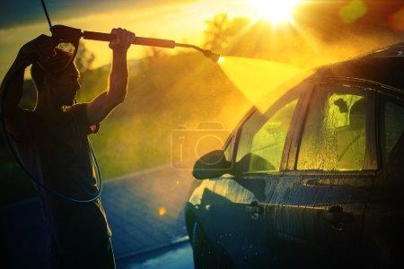 Car Washing at Sunset