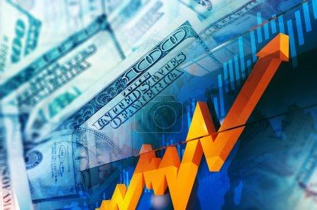Photo pour Illustration du concept de change. Etats-Unis Dollars Hausse des prix. Bourse . - image libre de droit