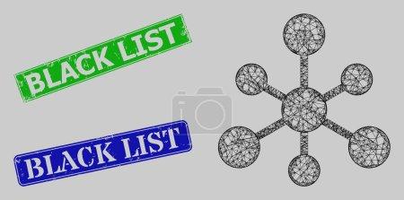 Illustration pour Modèle de connexions en maille filet de carcasse, et timbres impurs rectangle bleu et vert de la liste noire. Le symbole net de la carcasse est créé à partir de l'icône des connexions Web. - image libre de droit