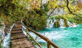 Autumn landscape with waterfall in Plitvice lakes national park, Croatia