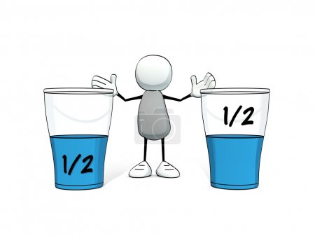 Photo for Little sketchy man - glasses half full half empty - Royalty Free Image