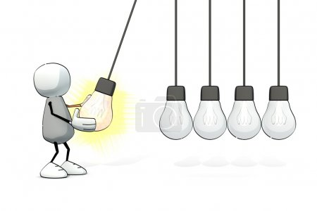Little sketchy man starting a Newton cradle with a glowing light bulb