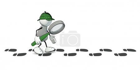 Photo for Little sketchy man as detective following a track of footprints - Royalty Free Image