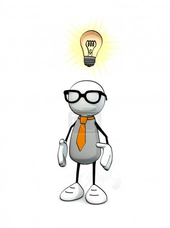 Little sketchy man with tie and glasses and  glowing light bulb