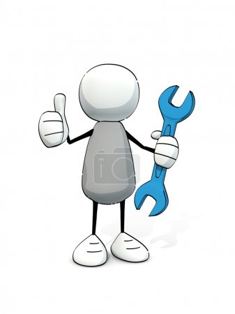Little sketchy man with blue wrench sticking the thumb in the air