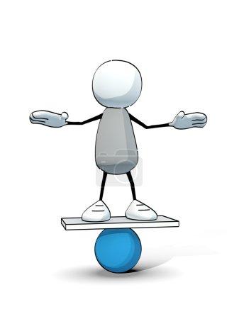 Little sketchy man balancing on a blue ball