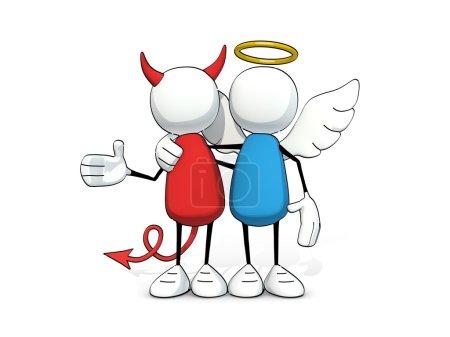 red, white, blue, illustration, person, friendship - B74115127