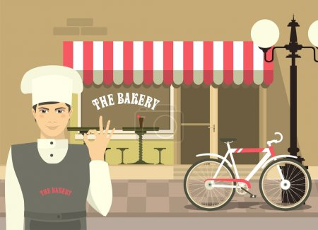 Baker In Front Of His Bakery