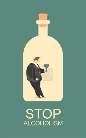 Illustration pour Poster personnage stylisé homme au fond de la bouteille avec un verre d'alcool dans ses mains, arrêter l'alcoolisme - image libre de droit