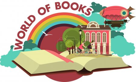 Illustration for Lies an open book concept it is possible to see different places and adventures emblem label - Royalty Free Image
