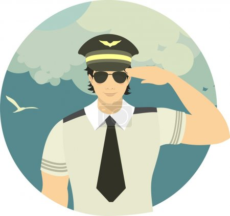 airline pilot in a round emblem