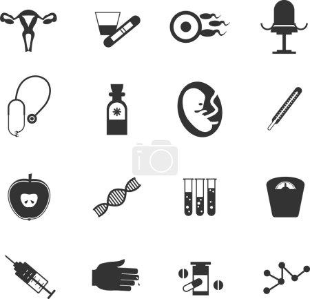 set of icons gynecological